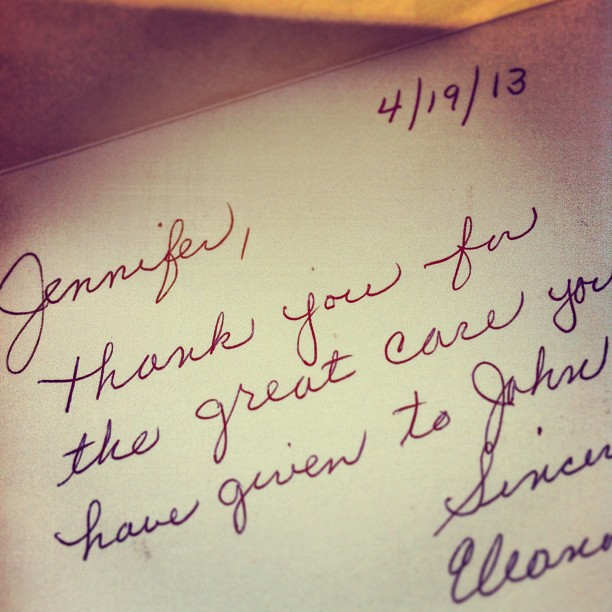 "My first ""thank you"" note from a patient who i will always remember"